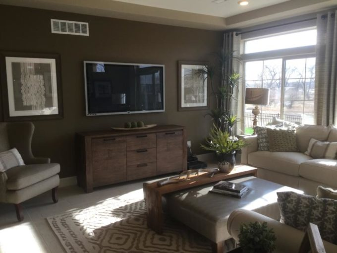 Family room in Gleaneagle model at Green Valley Ranch in Denver.