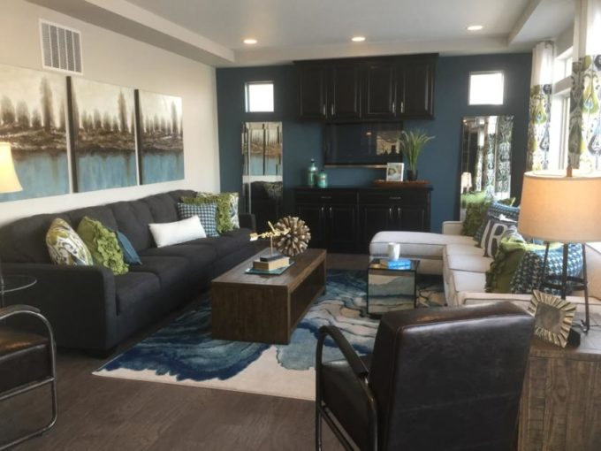 Family room of Pagosa model at Vista Point at Green Valley Ranch in Denver.